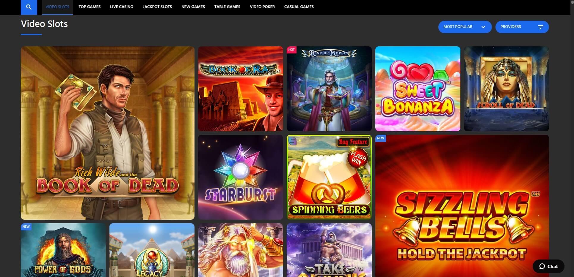 Games at Slotimo Casino