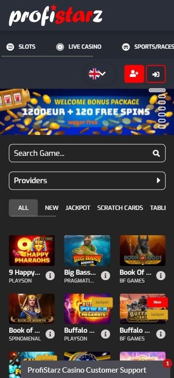 Profistarz Casino - Mobile Version