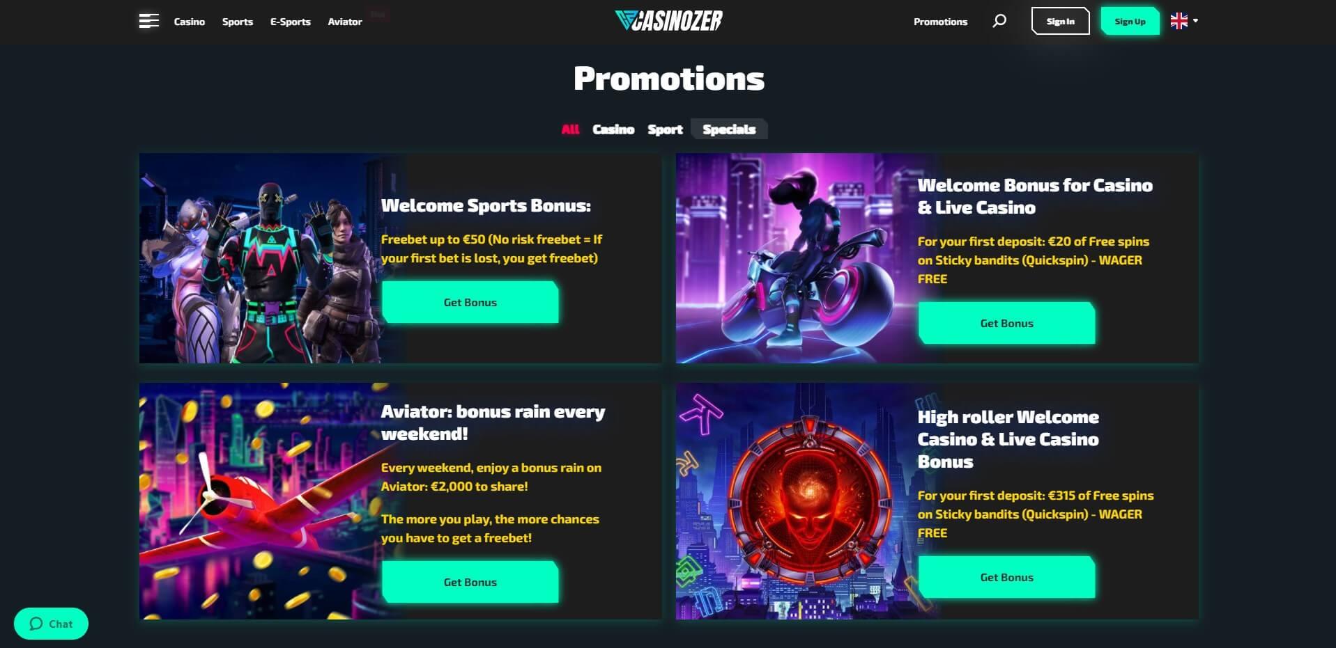 Promotions at Casinozer casino