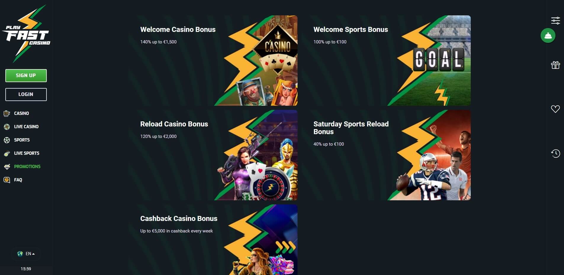Promotions at Playfast Casino
