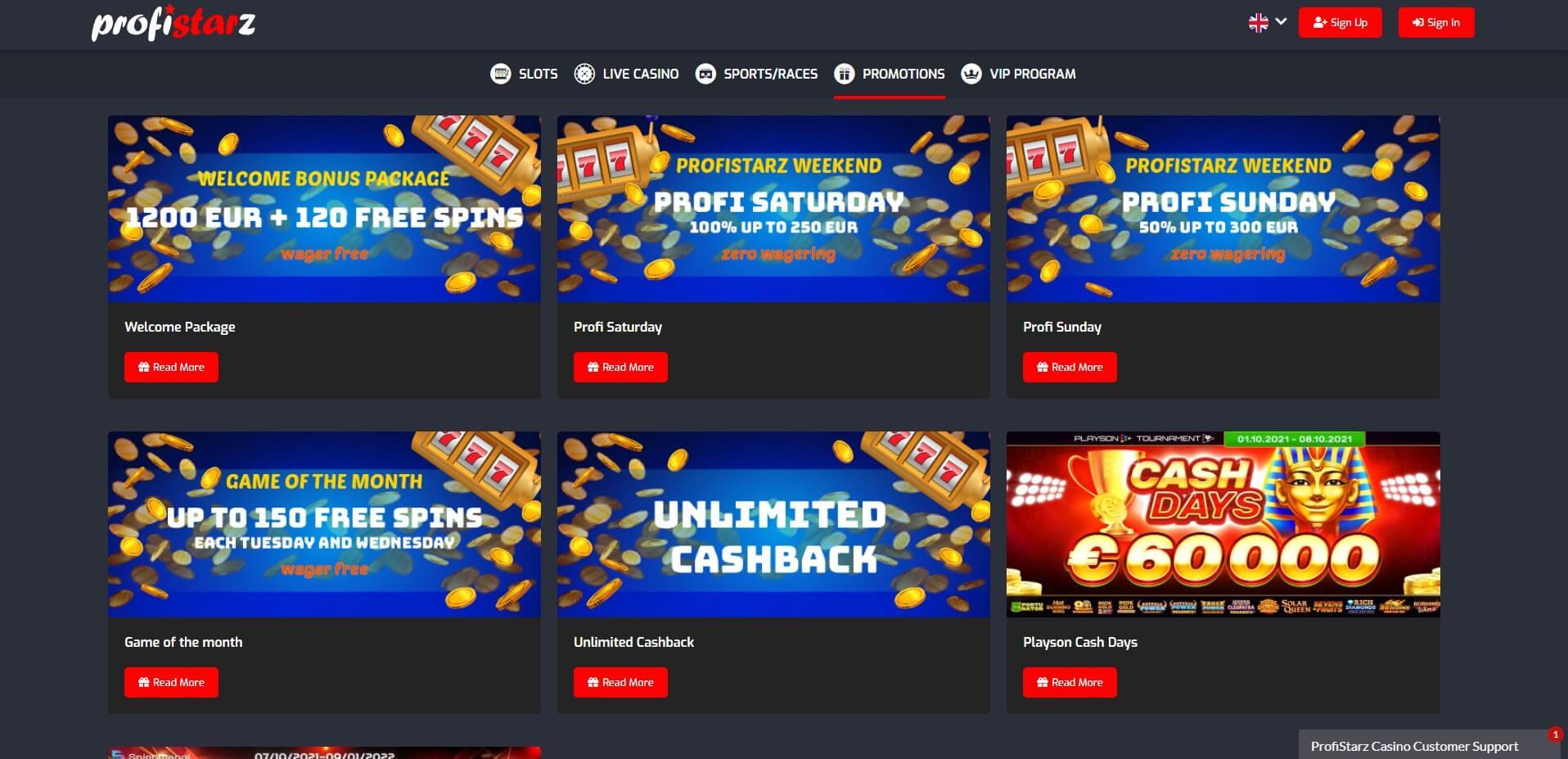Promotions at Profistarz Casino