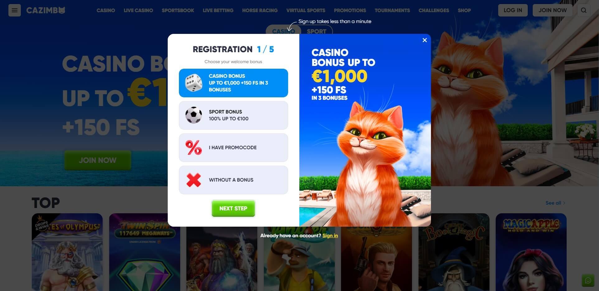 Sign Up at Cazimbo Casino