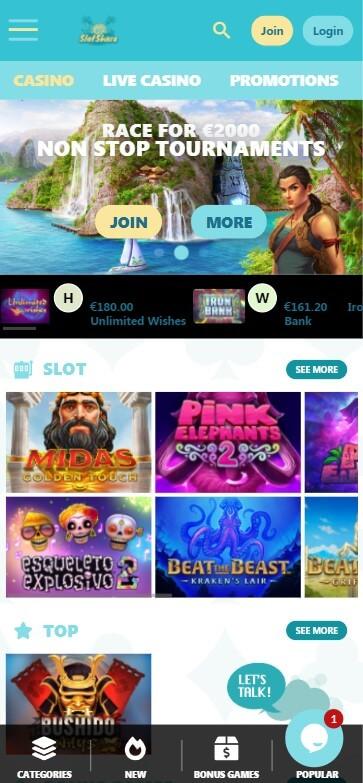 SlotShore Casino - Mobile Version